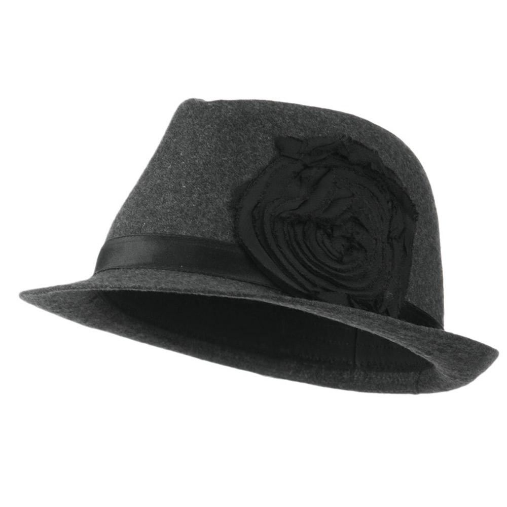 Melton Fedora with Rosette - Grey - Hats and Caps Online Shop - Hip Head Gear