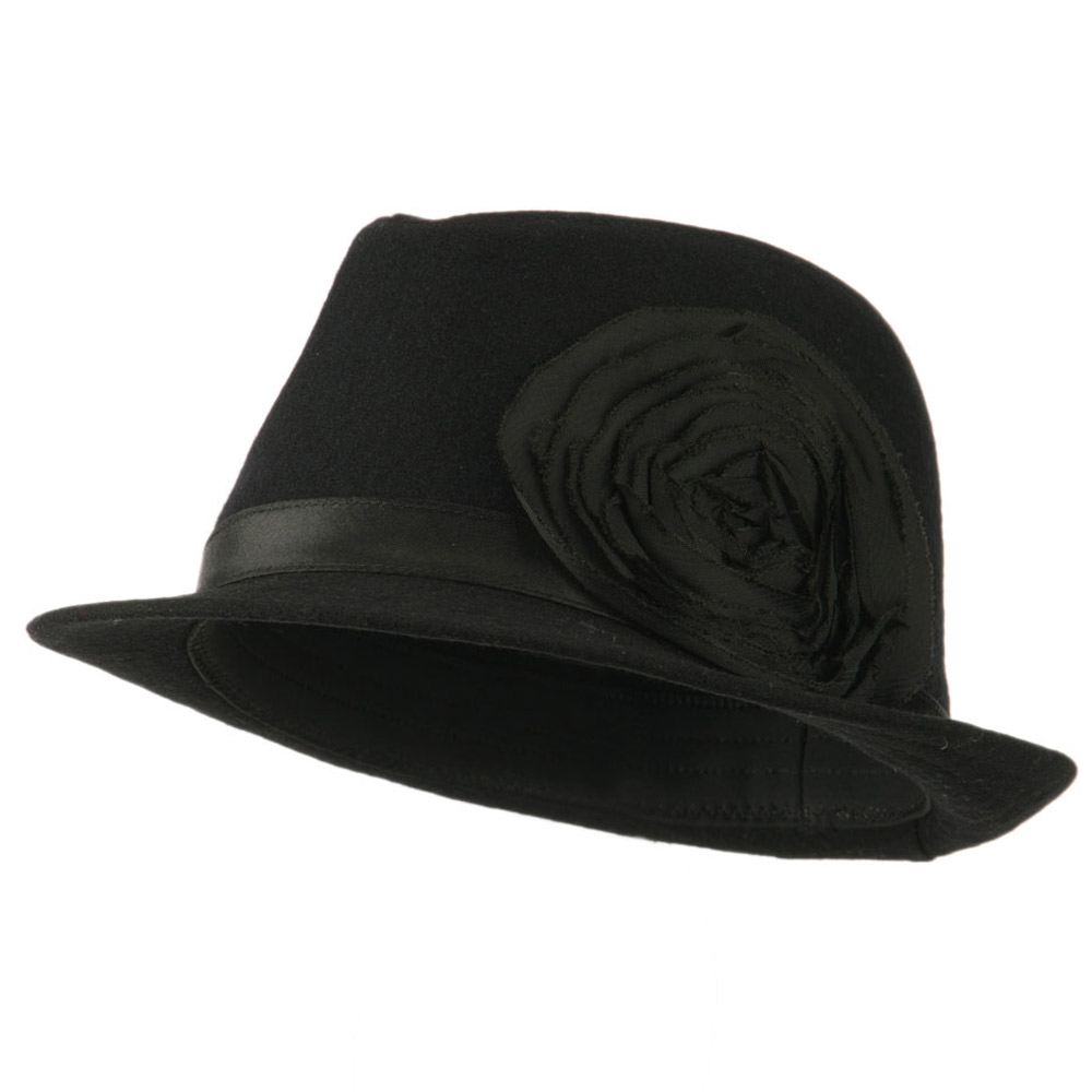 Melton Fedora with Rosette - Black - Hats and Caps Online Shop - Hip Head Gear