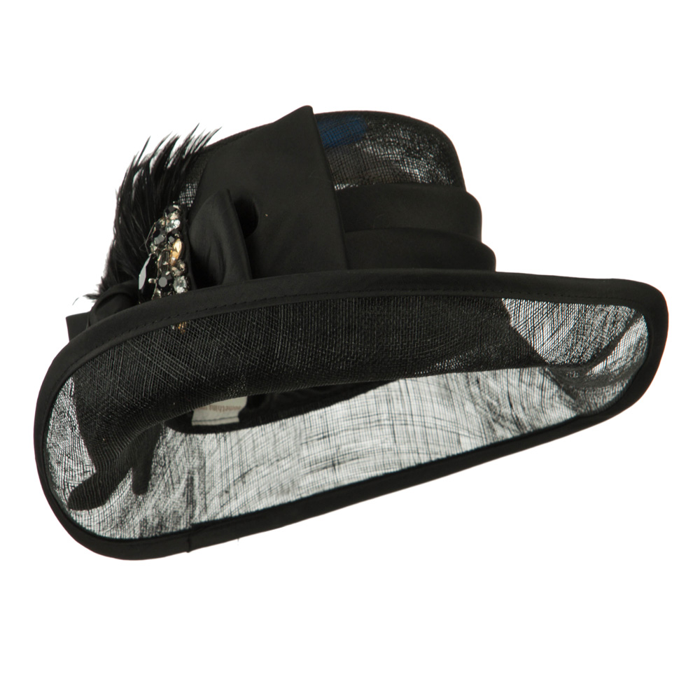 Side Roll Up Brim Sinamay Hat - Black - Hats and Caps Online Shop - Hip Head Gear