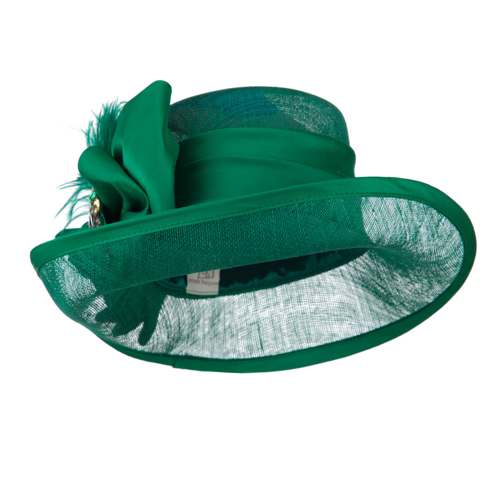 Side Roll Up Brim Sinamay Hat - Green - Hats and Caps Online Shop - Hip Head Gear