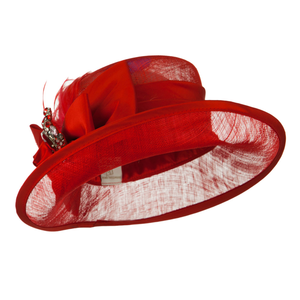 Side Roll Up Brim Sinamay Hat - Red - Hats and Caps Online Shop - Hip Head Gear