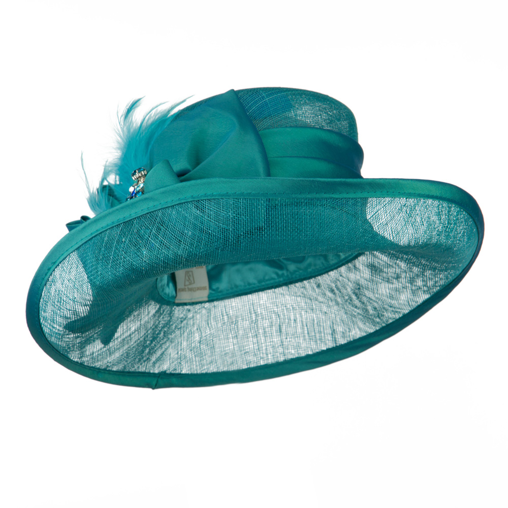 Side Roll Up Brim Sinamay Hat - Turquoise - Hats and Caps Online Shop - Hip Head Gear