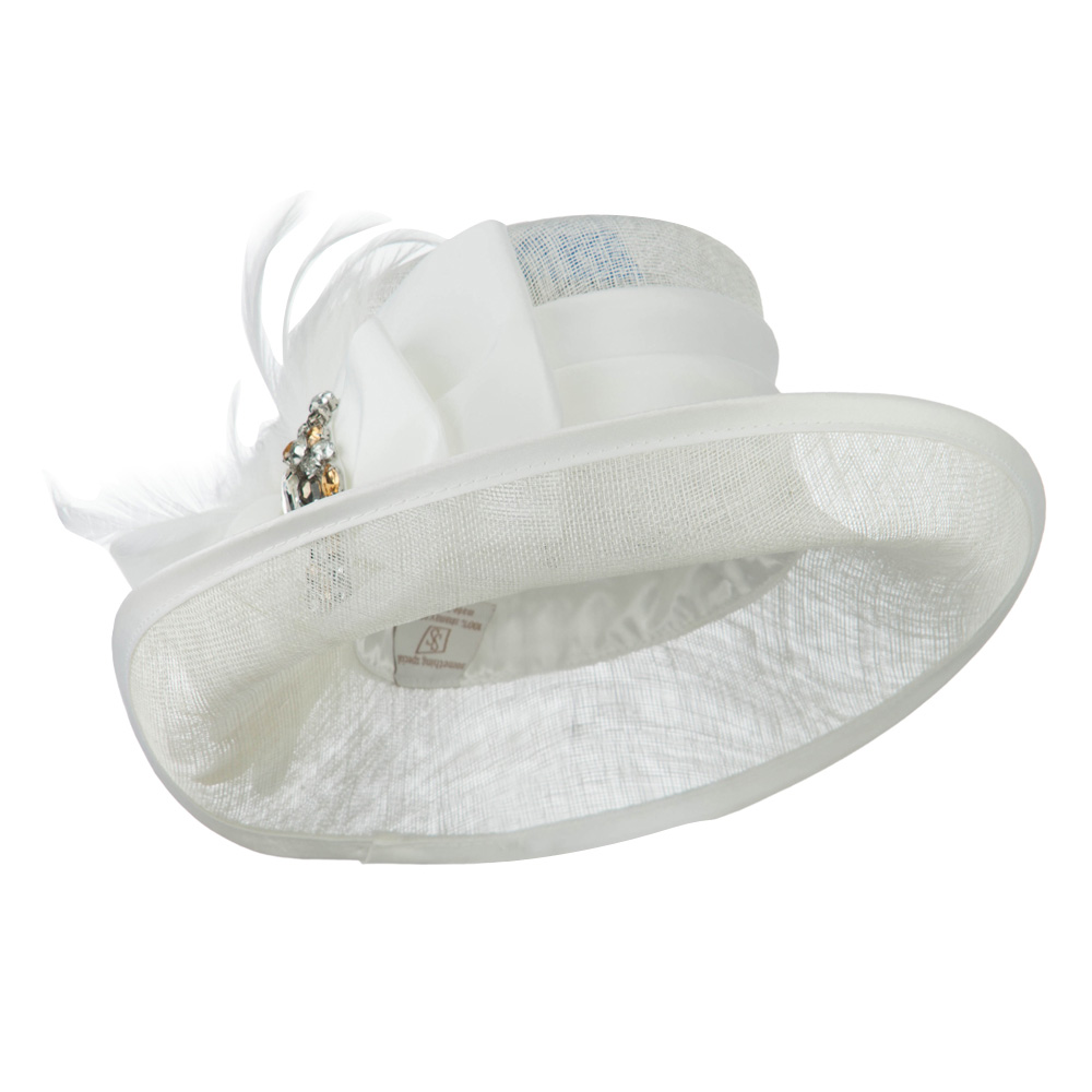 Side Roll Up Brim Sinamay Hat - White - Hats and Caps Online Shop - Hip Head Gear