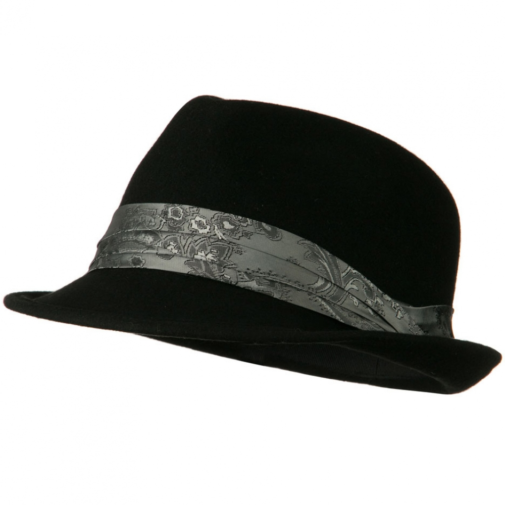 Wool Felt Fedora Hat with Satin Band - Black - Hats and Caps Online Shop - Hip Head Gear