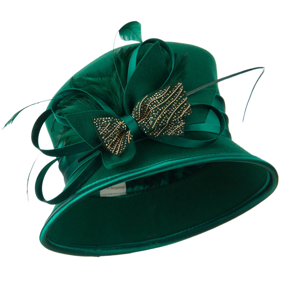 Wool Felt Dressy Hat with Rhinestone Bow - Green - Hats and Caps Online Shop - Hip Head Gear