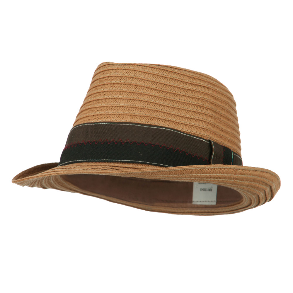 Men's Wide Ribbon Straw Fedora - Tan - Hats and Caps Online Shop - Hip Head Gear