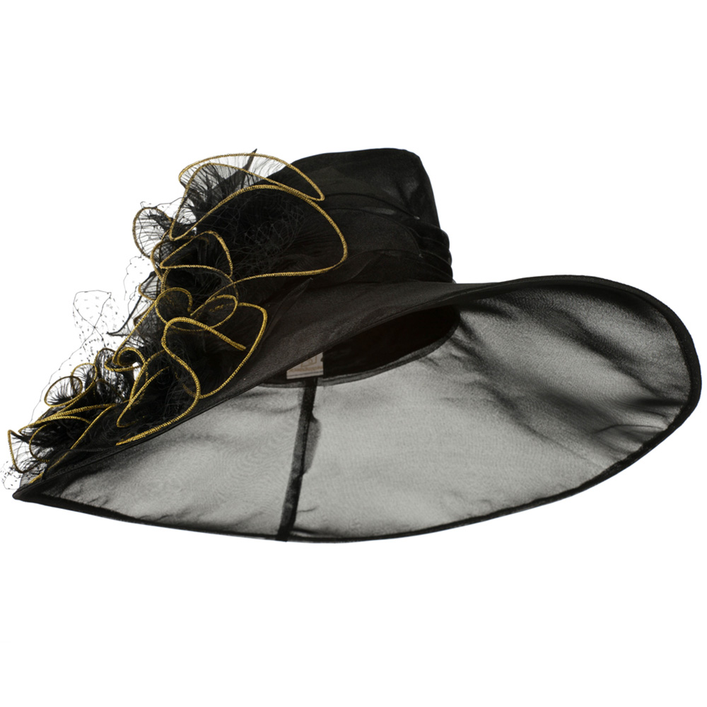 3 Flowers Organza Hat with Ruffles Trimming - Black - Hats and Caps Online Shop - Hip Head Gear