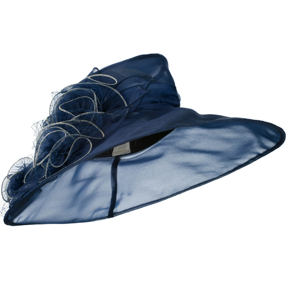 3 Flowers Organza Hat with Ruffles Trimming - Navy - Hats and Caps Online Shop - Hip Head Gear