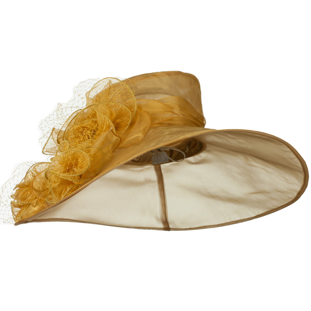 3 Flowers Organza Hat with Ruffles Trimming - Gold