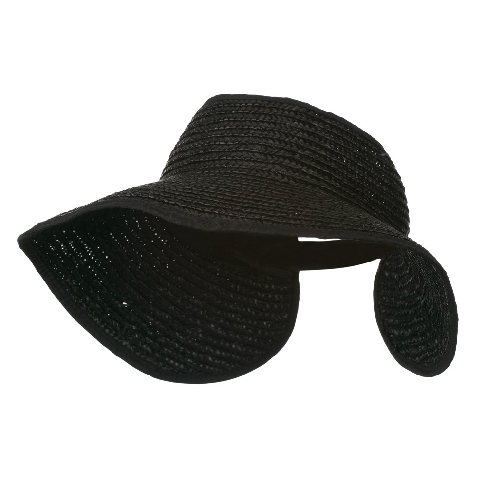 Braided Straw Roll Up Visor - Black - Hats and Caps Online Shop - Hip Head Gear