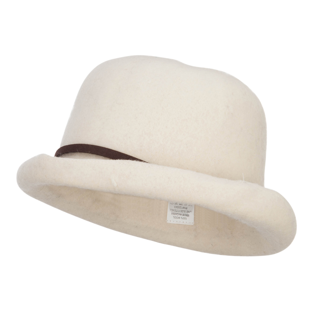 Women's Rolled Up Wool Bowler - Cream