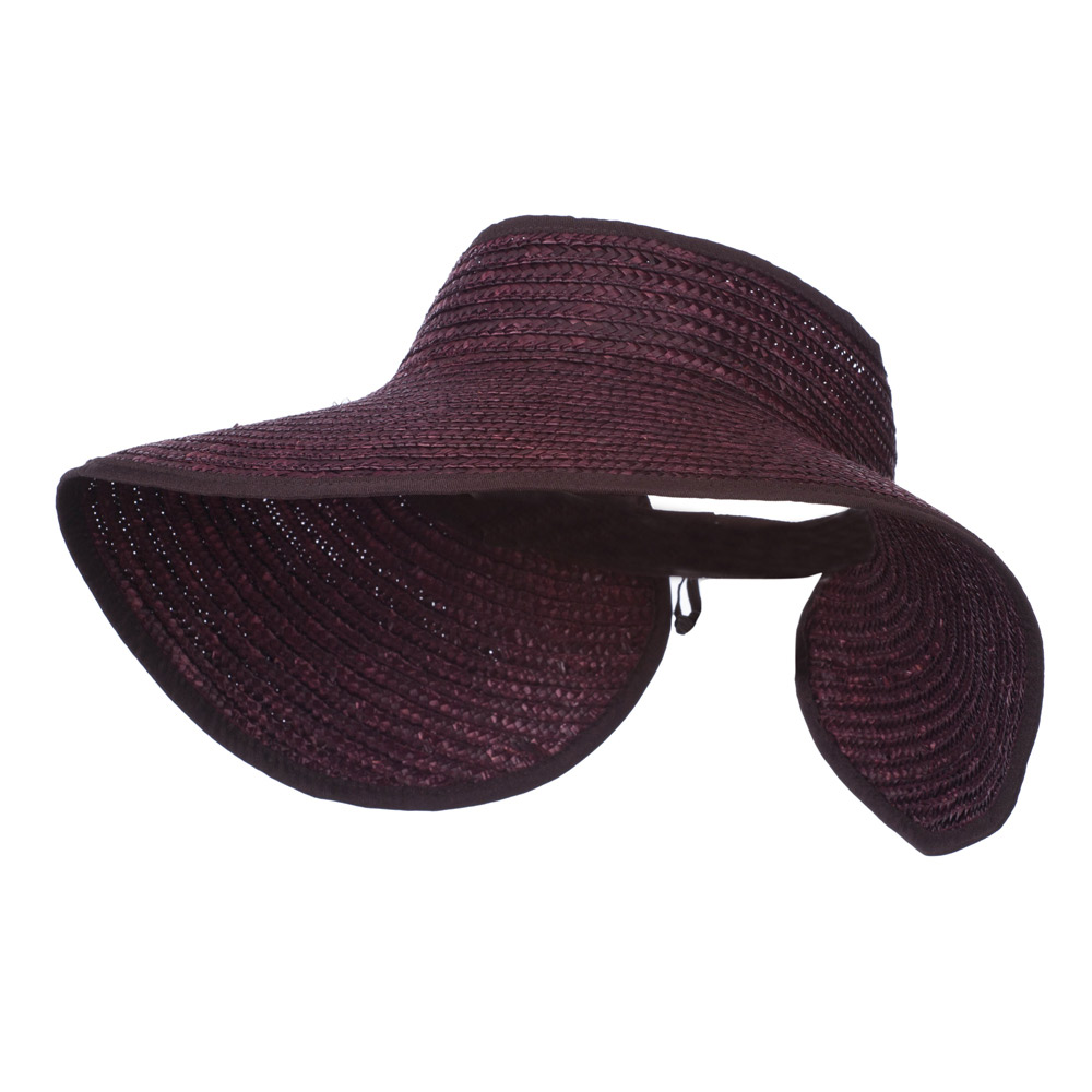 Braided Straw Roll Up Visor - Brown - Hats and Caps Online Shop - Hip Head Gear