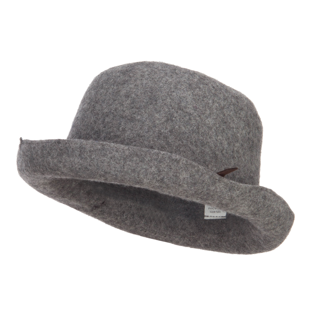 Women's Rolled Up Wool Bowler - Grey