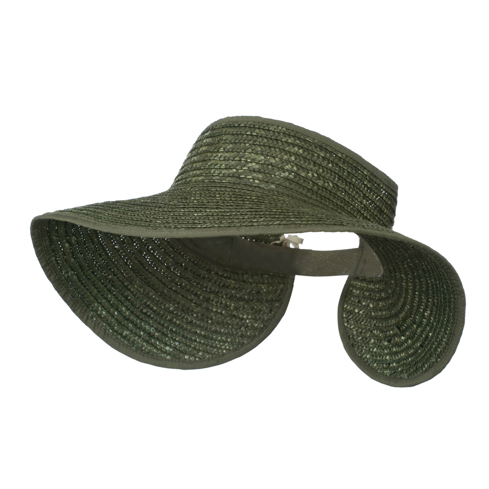 Braided Straw Roll Up Visor - Olive - Hats and Caps Online Shop - Hip Head Gear
