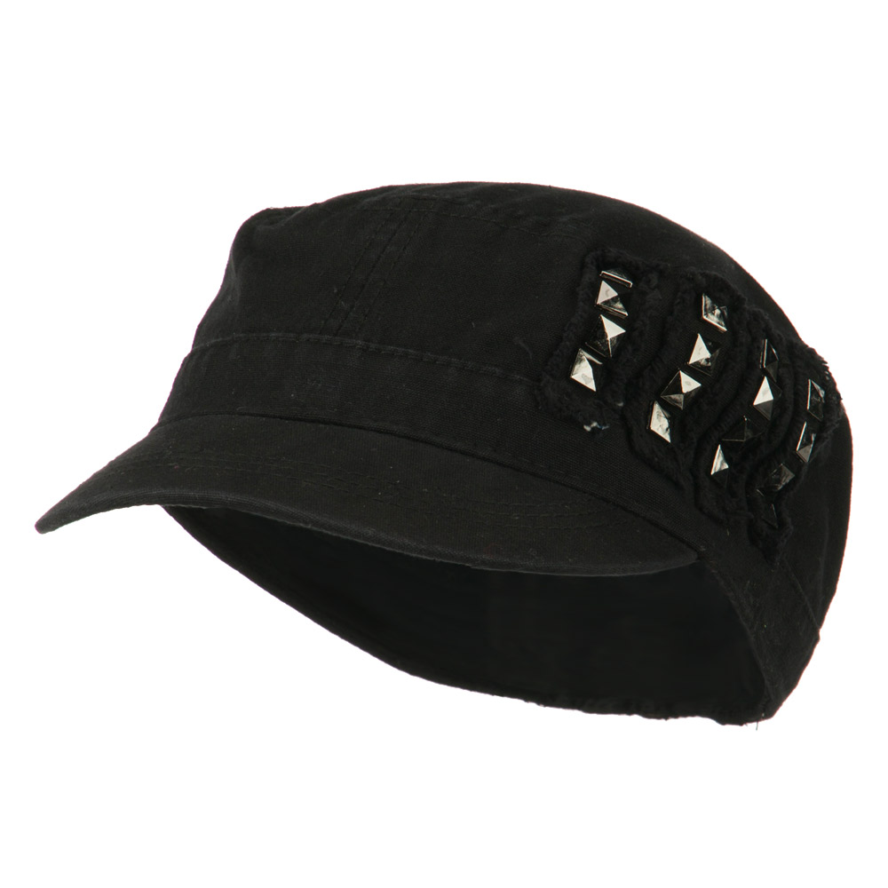 Side Studs Fitted Army Cap - Black - Hats and Caps Online Shop - Hip Head Gear