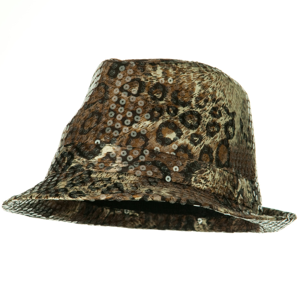 Sequin Animal Skin Color Fedora - Brown - Hats and Caps Online Shop - Hip Head Gear