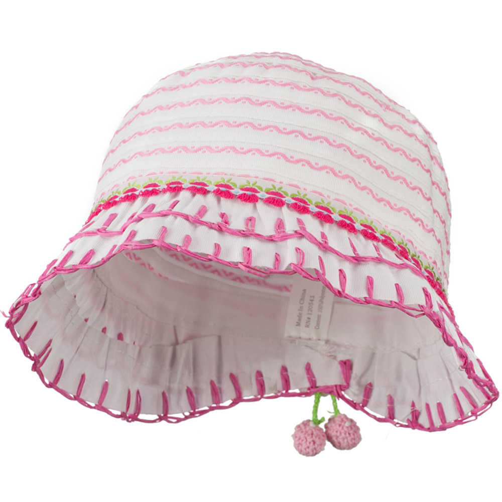 Girl's Hat with Stitched Accent Brim and Flower - White Pink - Hats and Caps Online Shop - Hip Head Gear