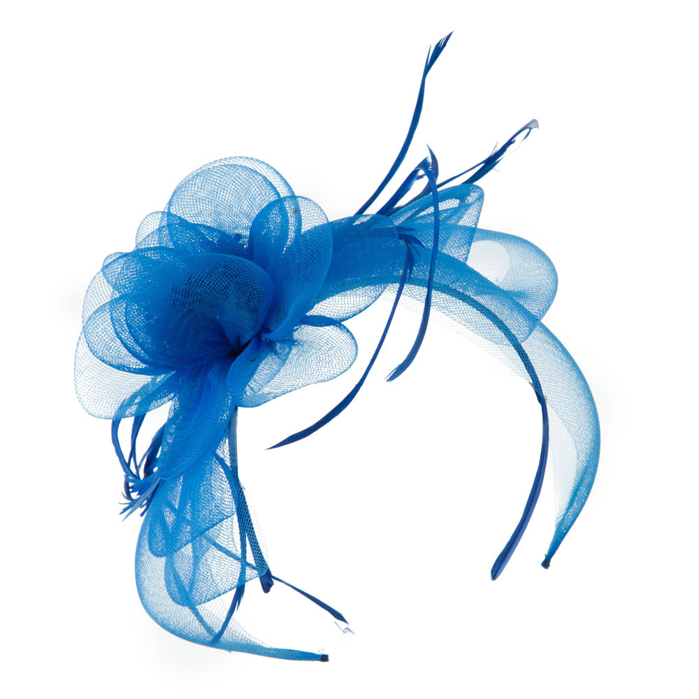 Flower with Stamen and Feather Decoration Fascinator - Blue - Hats and Caps Online Shop - Hip Head Gear