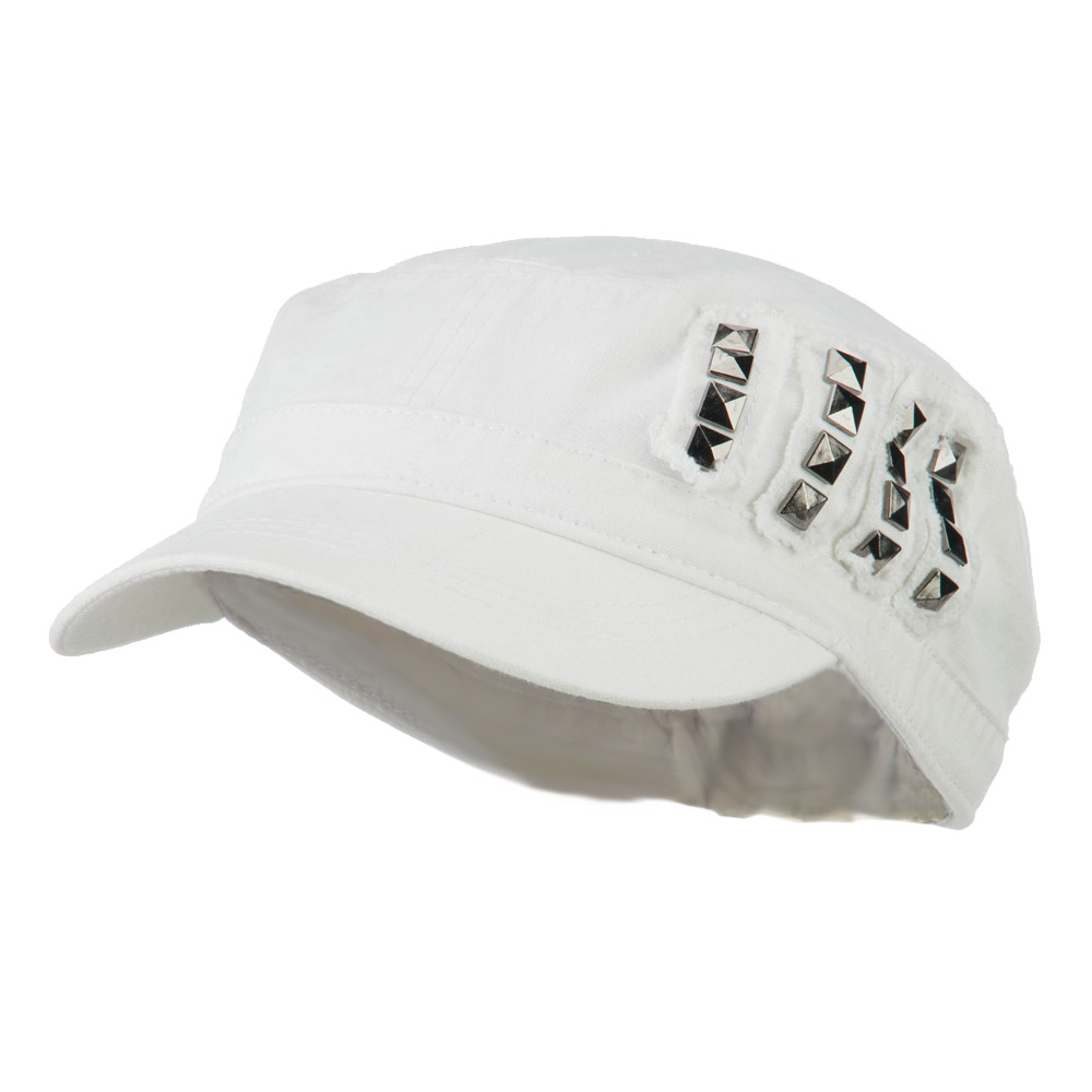Side Studs Fitted Army Cap - White - Hats and Caps Online Shop - Hip Head Gear