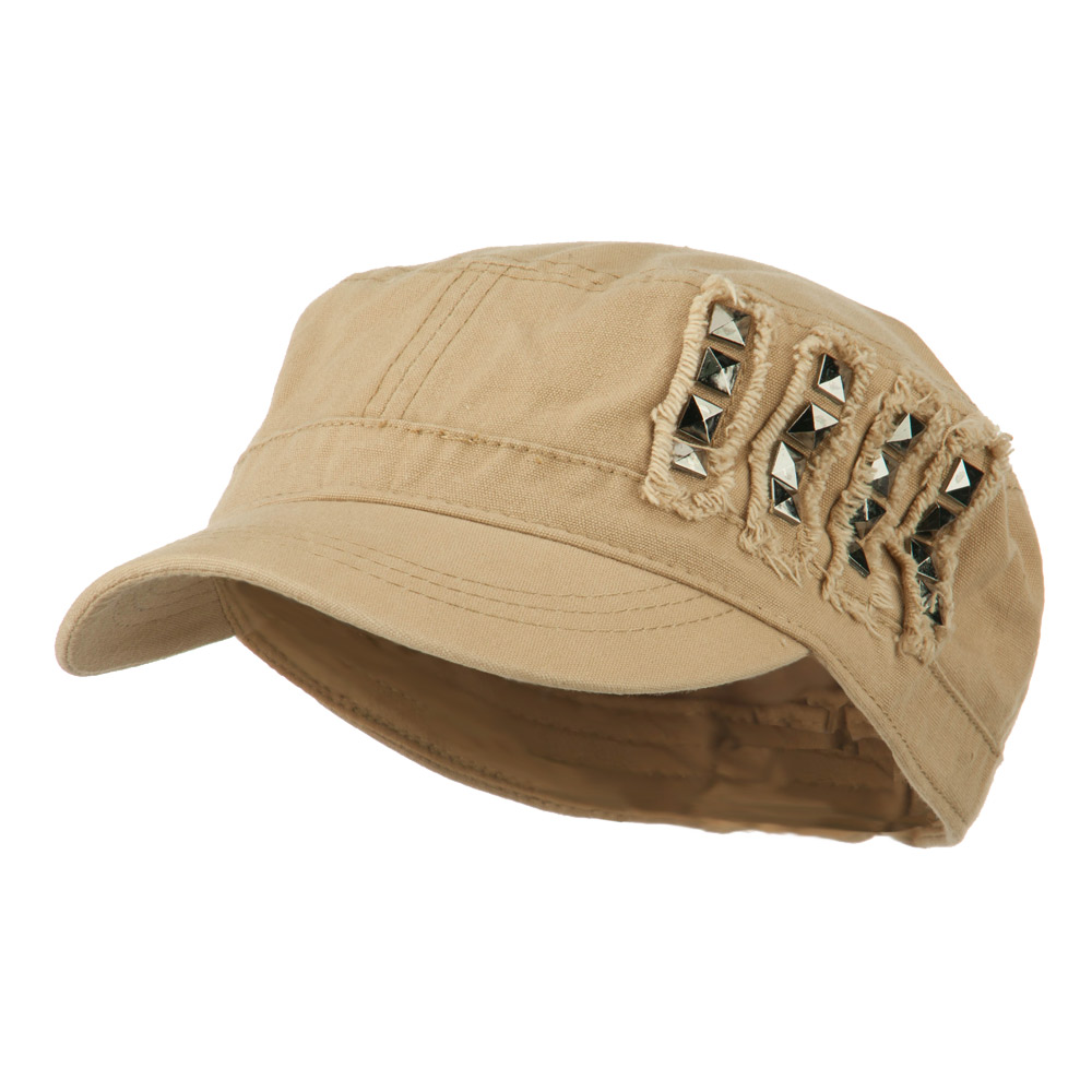 Side Studs Fitted Army Cap - Tan - Hats and Caps Online Shop - Hip Head Gear