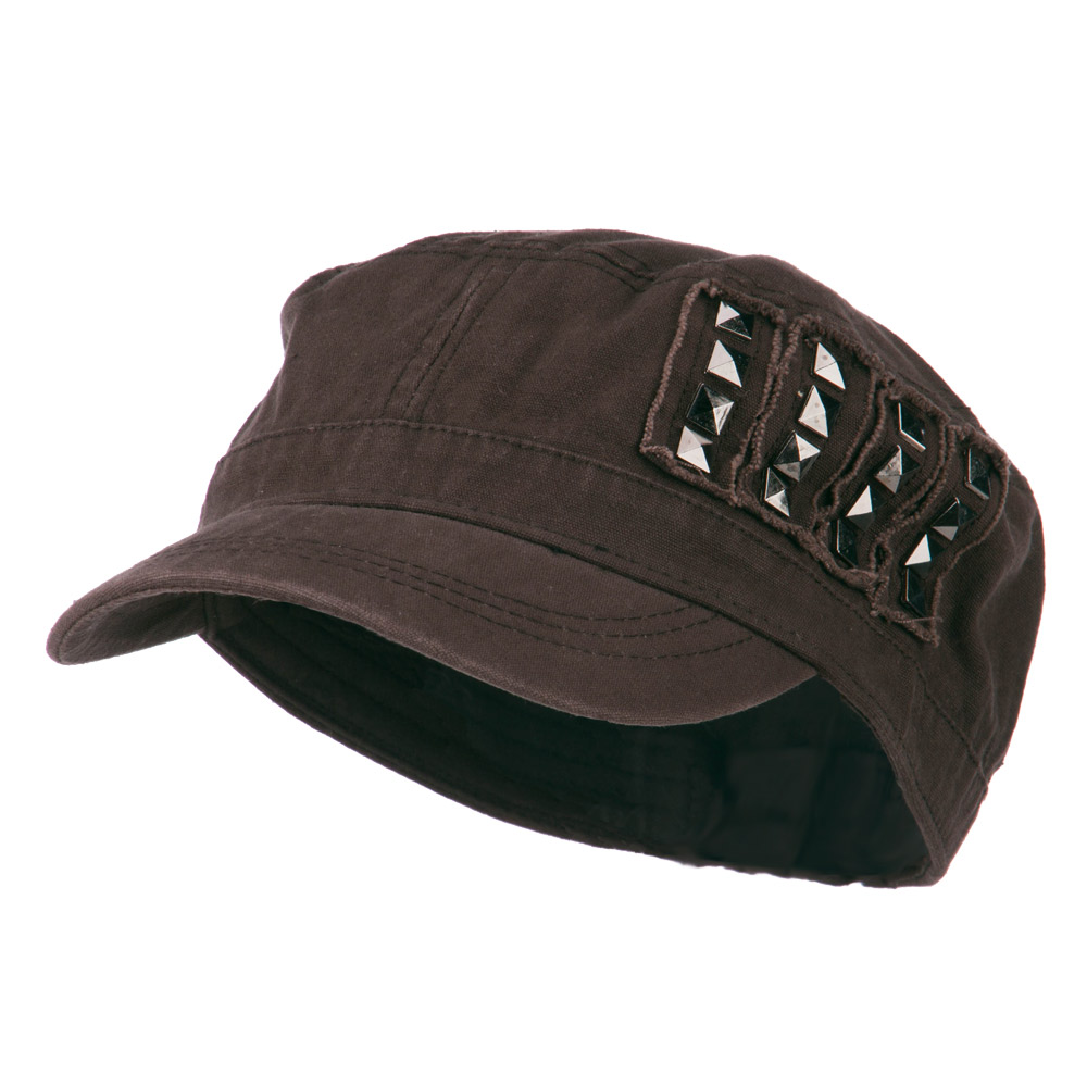 Side Studs Fitted Army Cap - Brown - Hats and Caps Online Shop - Hip Head Gear