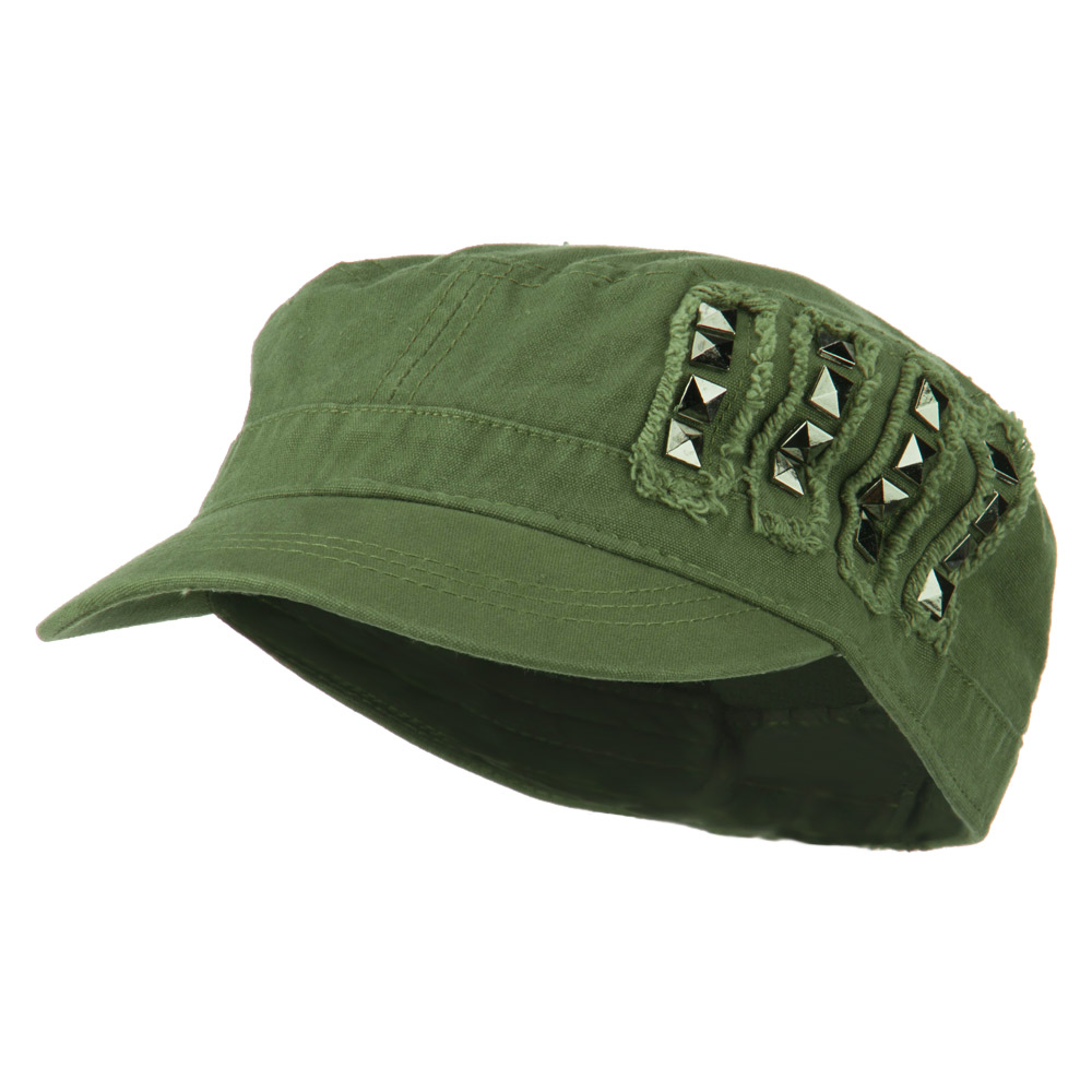 Side Studs Fitted Army Cap - Olive - Hats and Caps Online Shop - Hip Head Gear