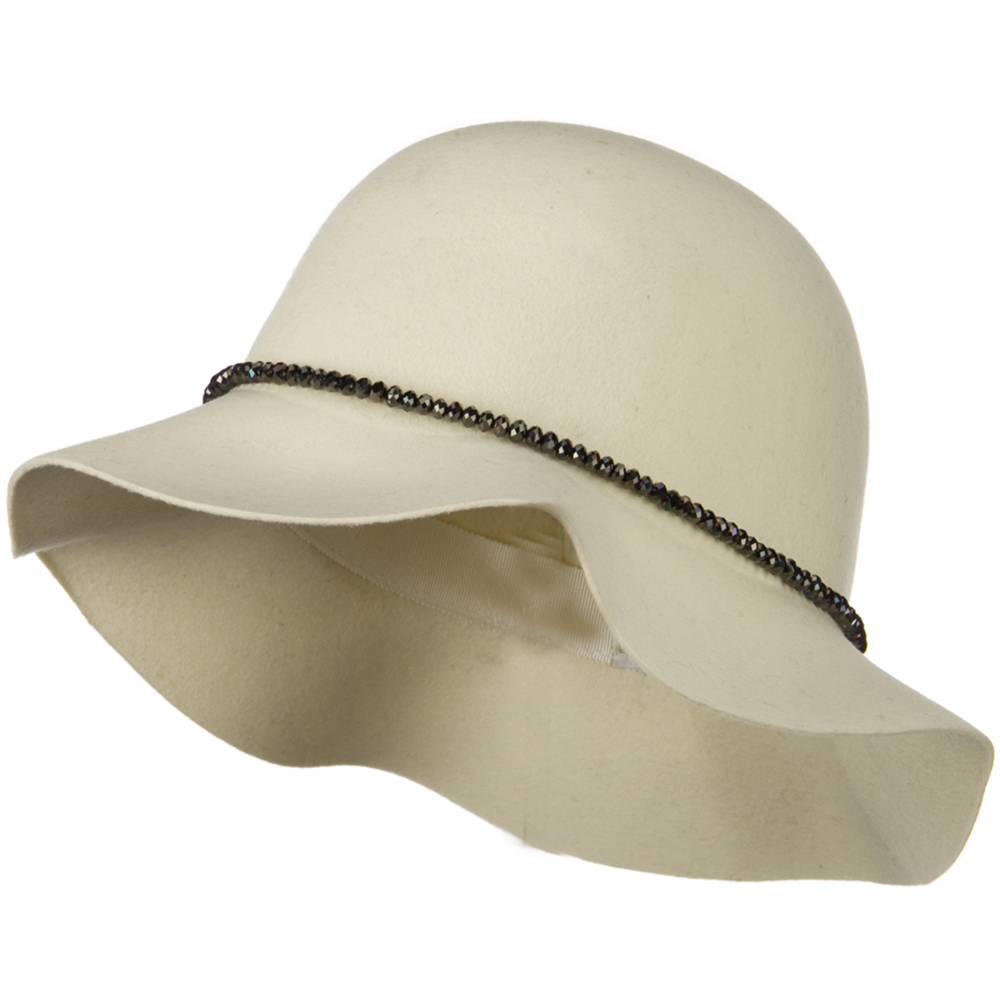 Short Brim Floppy Hat with Bead Band - Ivory - Hats and Caps Online Shop - Hip Head Gear