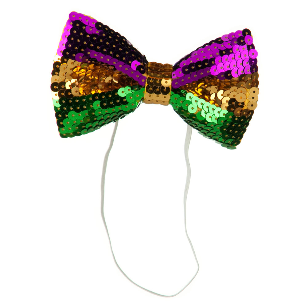 Mardi Gras Sequin Bow Tie - Green Yellow Purple - Hats and Caps Online Shop - Hip Head Gear