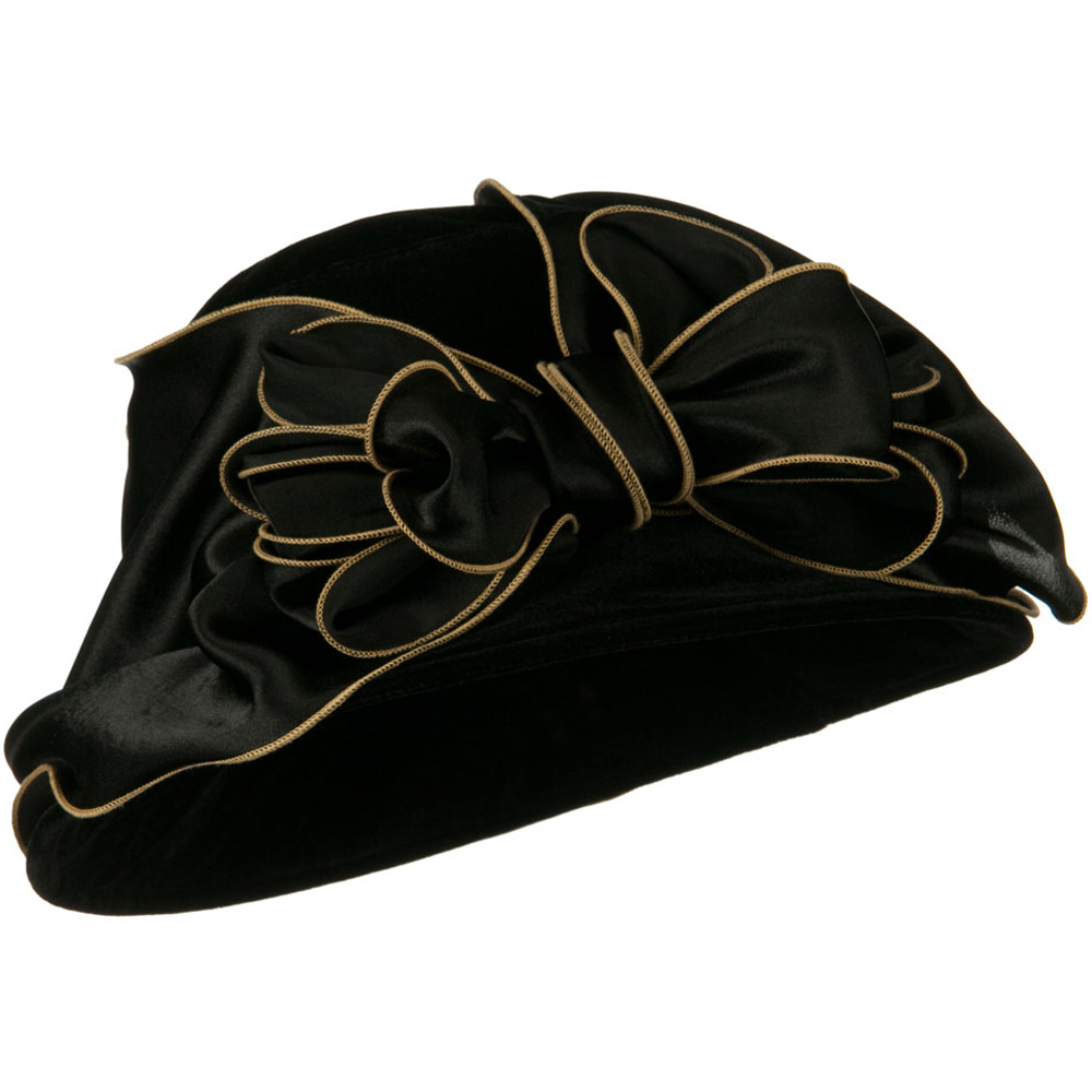 Satin Band Velvet Hat - Black - Hats and Caps Online Shop - Hip Head Gear