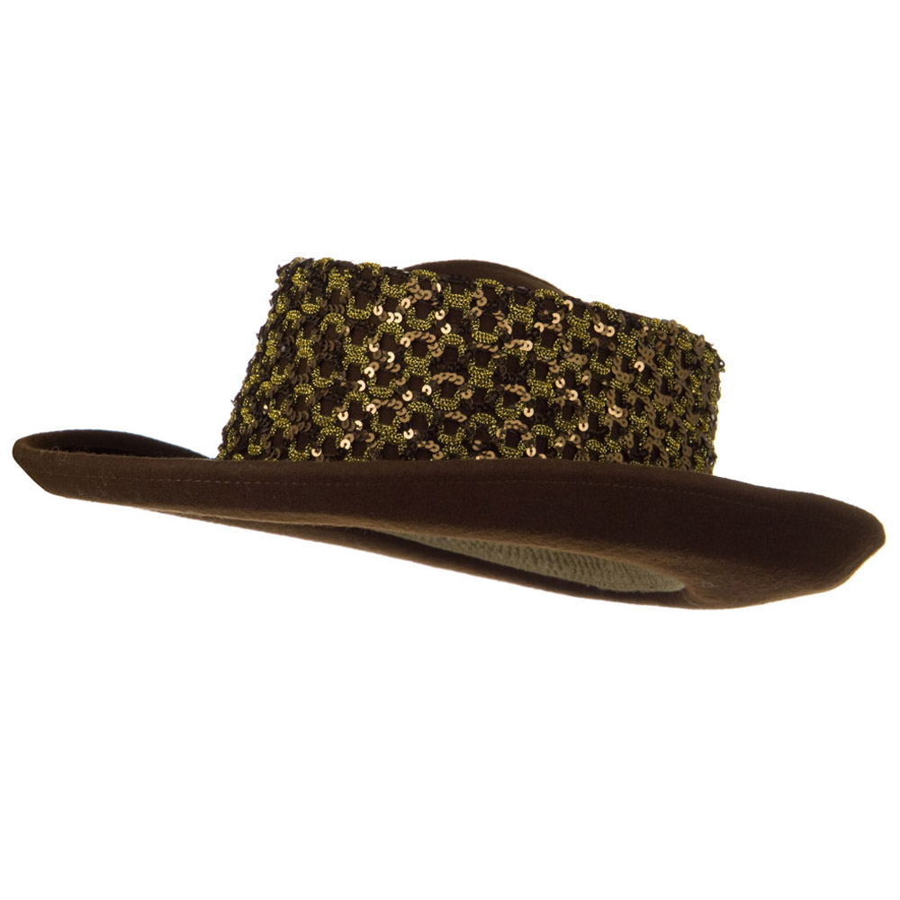 Sequin Band Wool Felt Hat - Brown - Hats and Caps Online Shop - Hip Head Gear