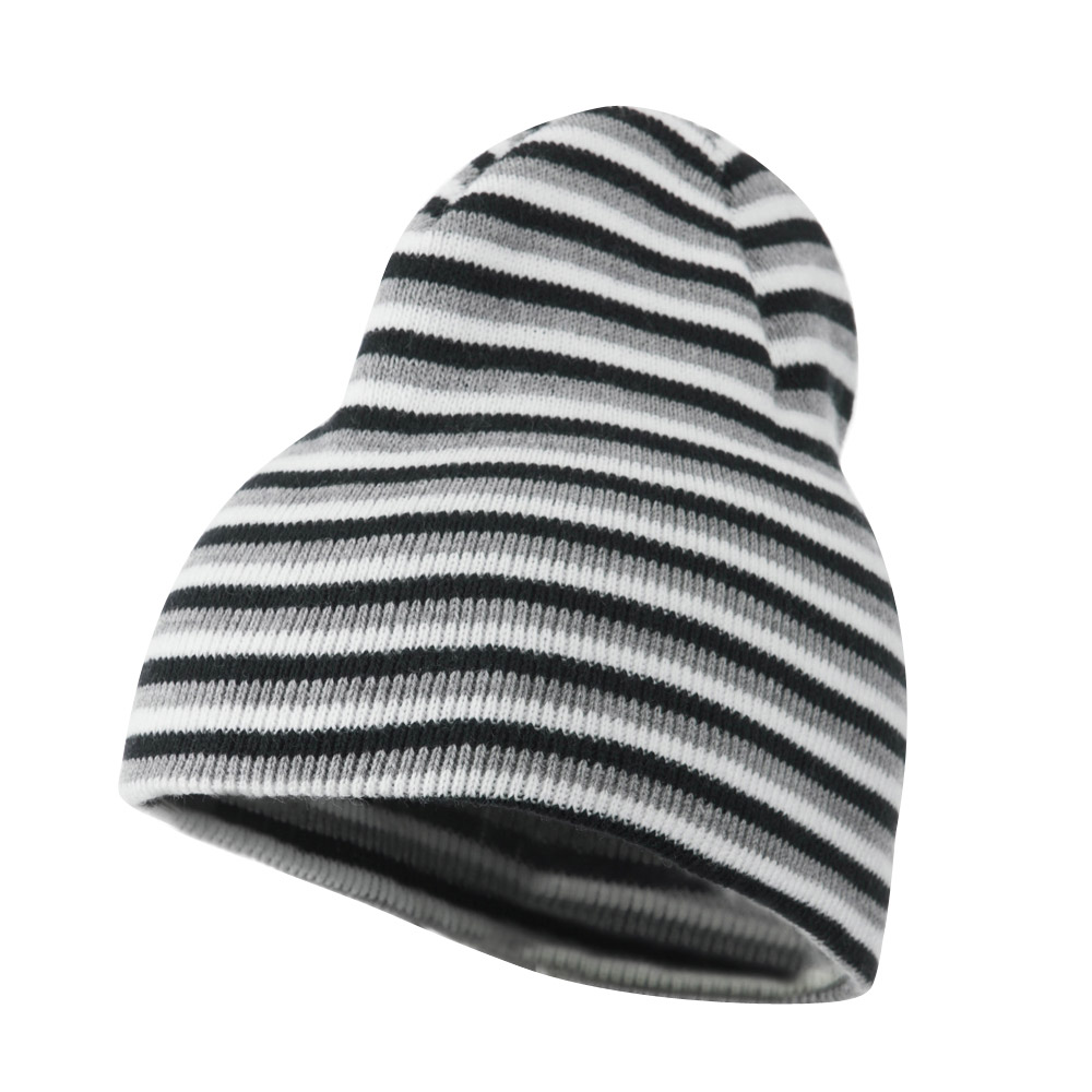 Trendy Multi Striped Beanie - Navy White Grey - Hats and Caps Online Shop - Hip Head Gear