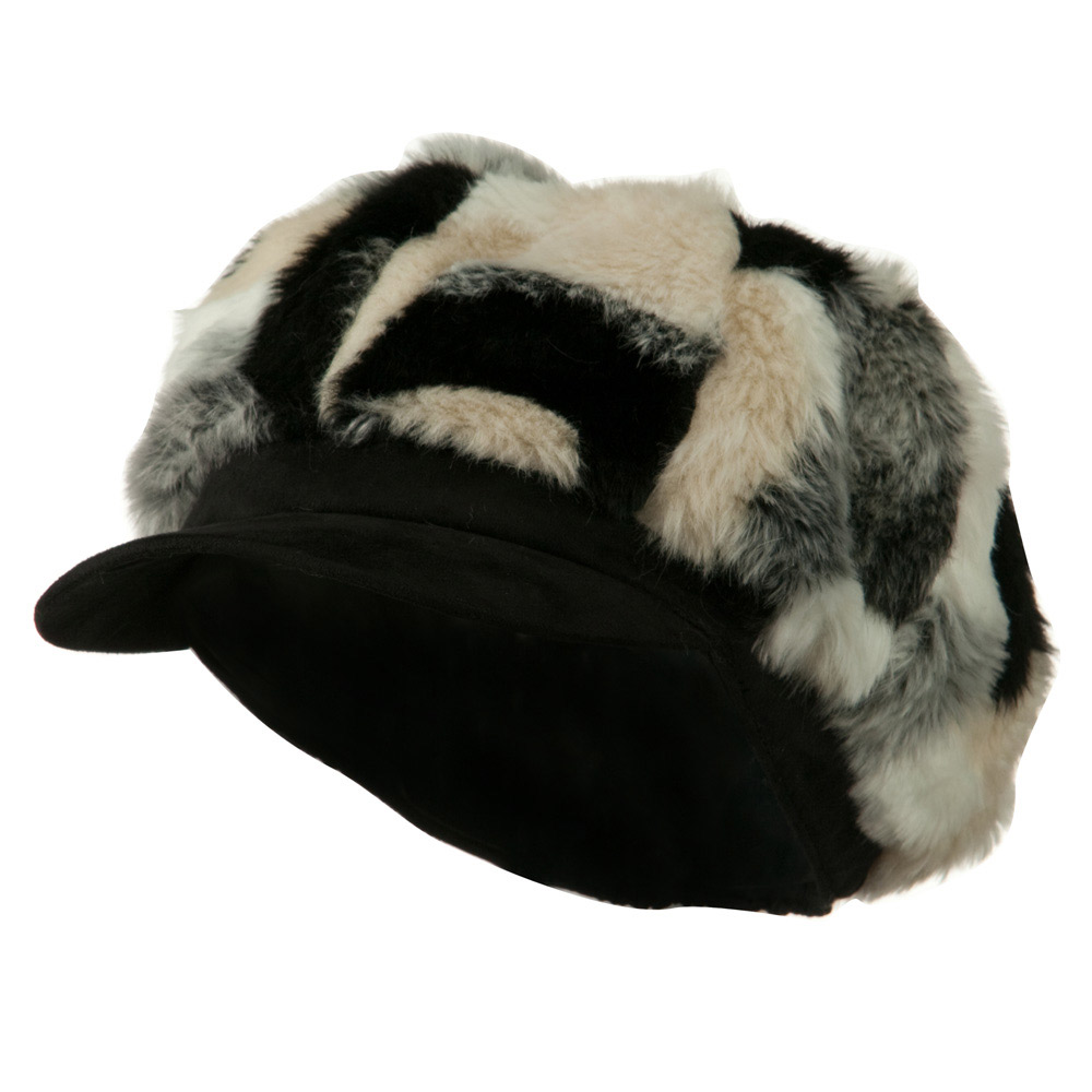 Faux Fur Suede Bill Newsboy Hat - Black Combo - Hats and Caps Online Shop - Hip Head Gear