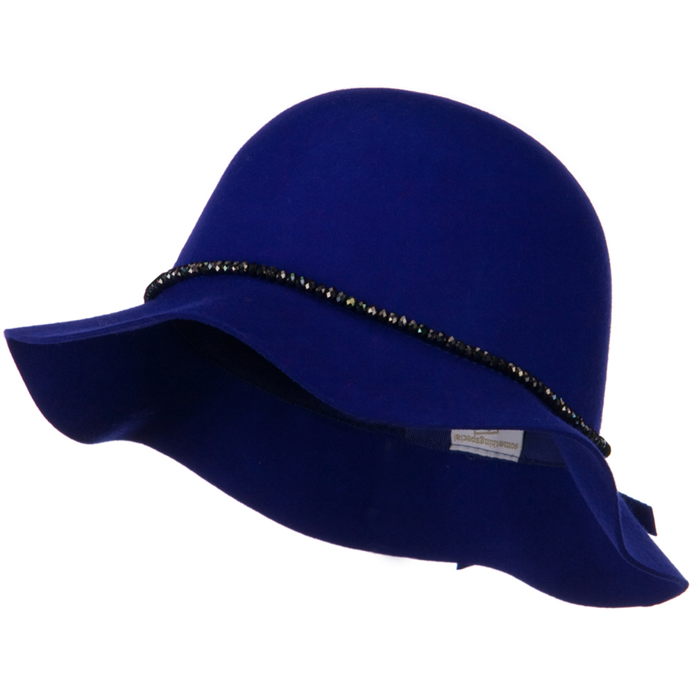 Short Brim Floppy Hat with Bead Band - Blue - Hats and Caps Online Shop - Hip Head Gear