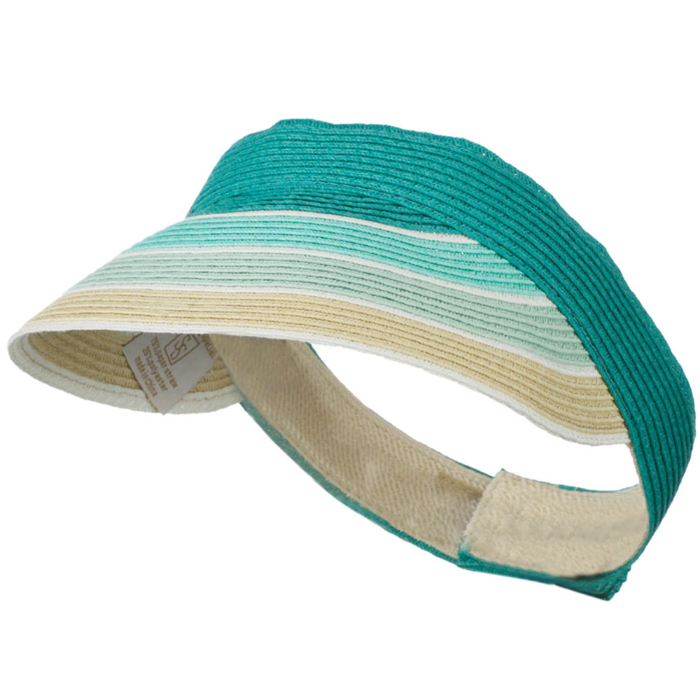 Colorful Striped Brim Paper Braid Visor - Turquoise - Hats and Caps Online Shop - Hip Head Gear