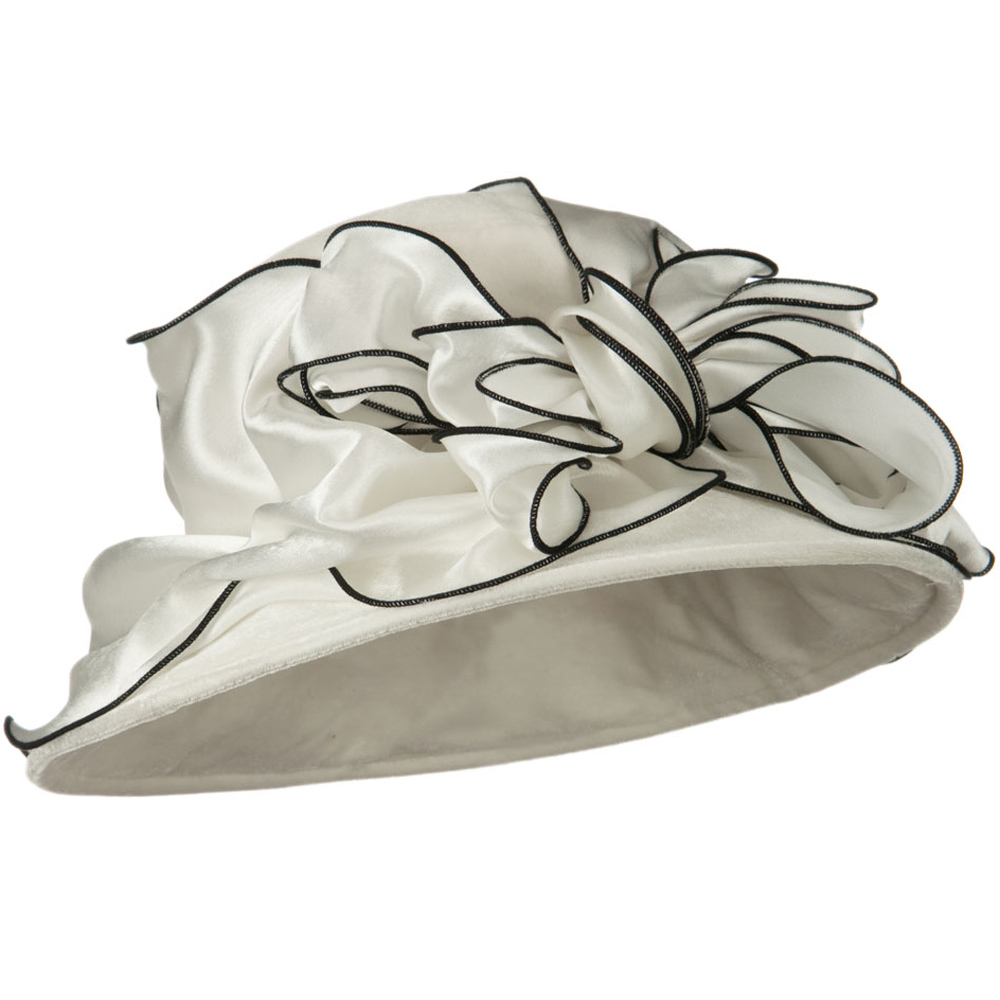 Satin Band Velvet Hat - Ivory - Hats and Caps Online Shop - Hip Head Gear