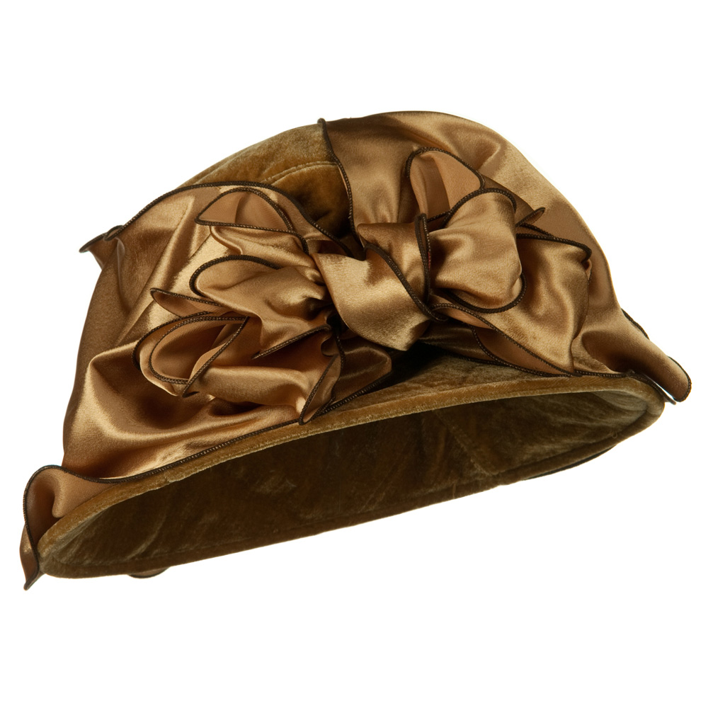 Satin Band Velvet Hat - Camel - Hats and Caps Online Shop - Hip Head Gear