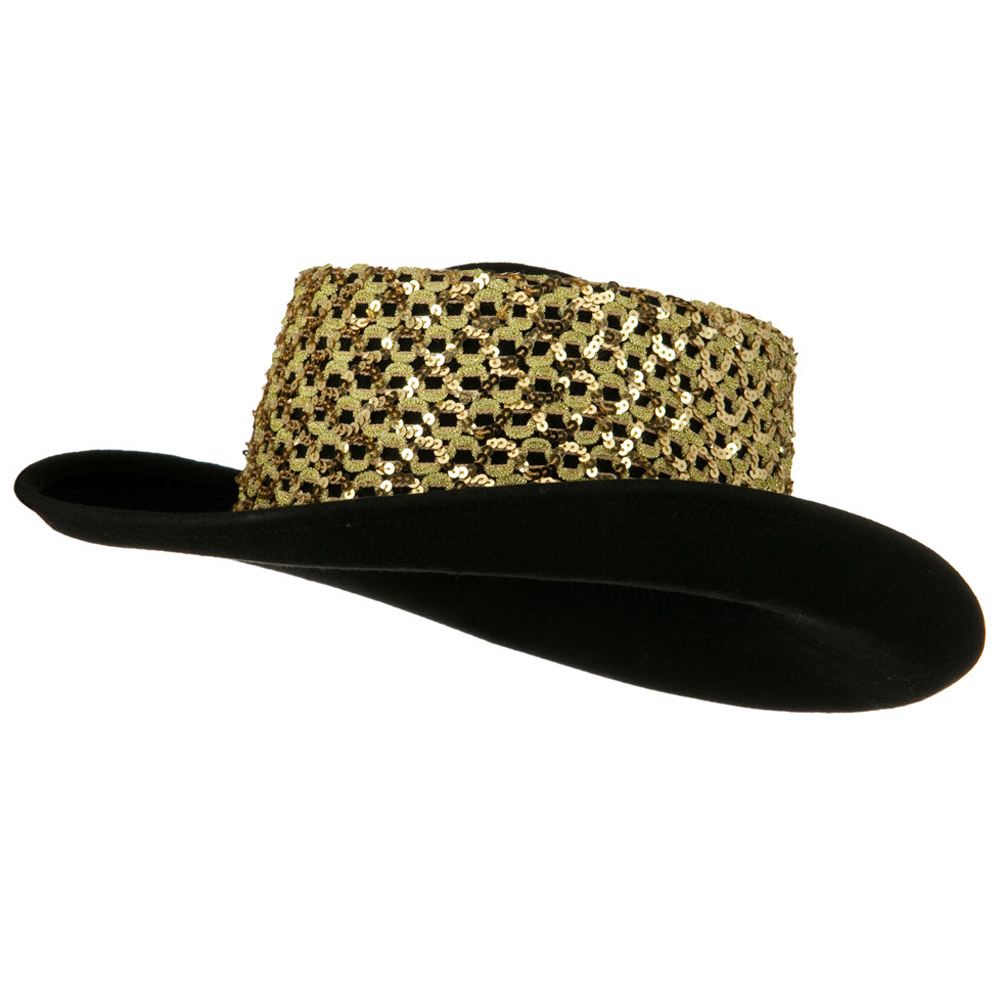 Sequin Band Wool Felt Hat - Gold - Hats and Caps Online Shop - Hip Head Gear
