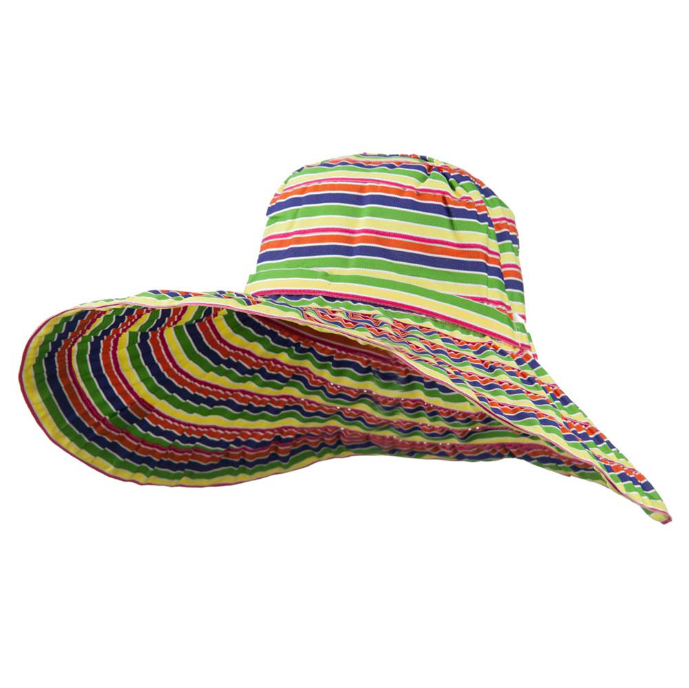 6 Inch Wide Square Buckle Brim Hat - Stripe - Hats and Caps Online Shop - Hip Head Gear