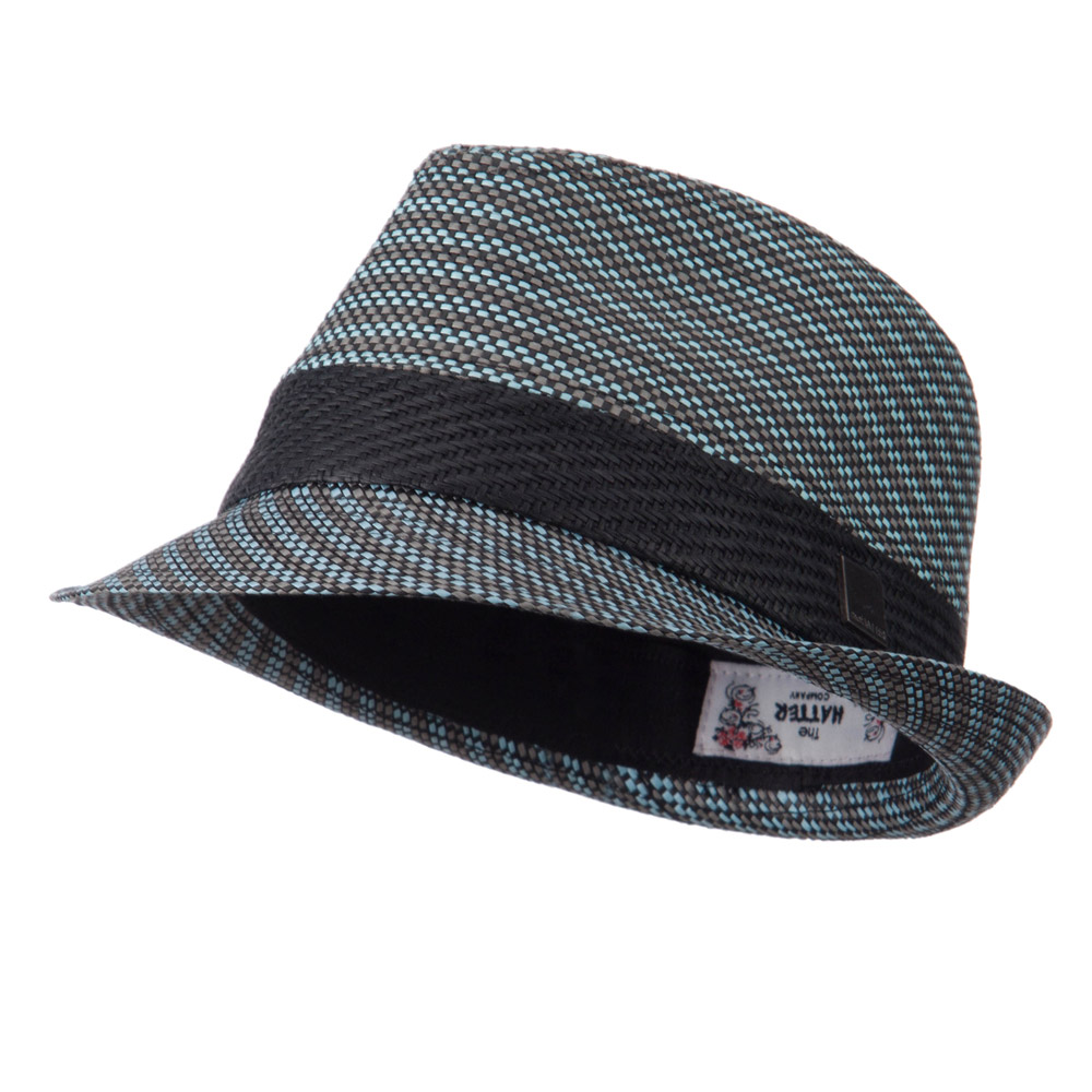 Straw Band Fedora Hat - Blue - Hats and Caps Online Shop - Hip Head Gear