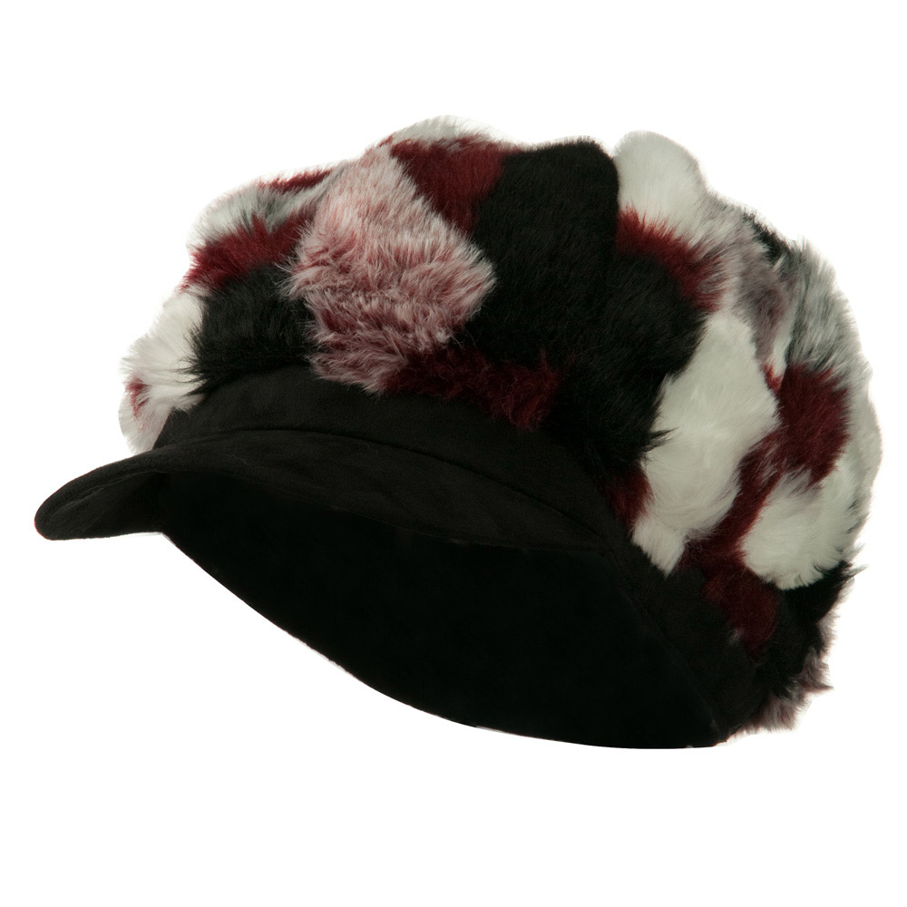 Faux Fur Suede Bill Newsboy Hat - Red Combo - Hats and Caps Online Shop - Hip Head Gear