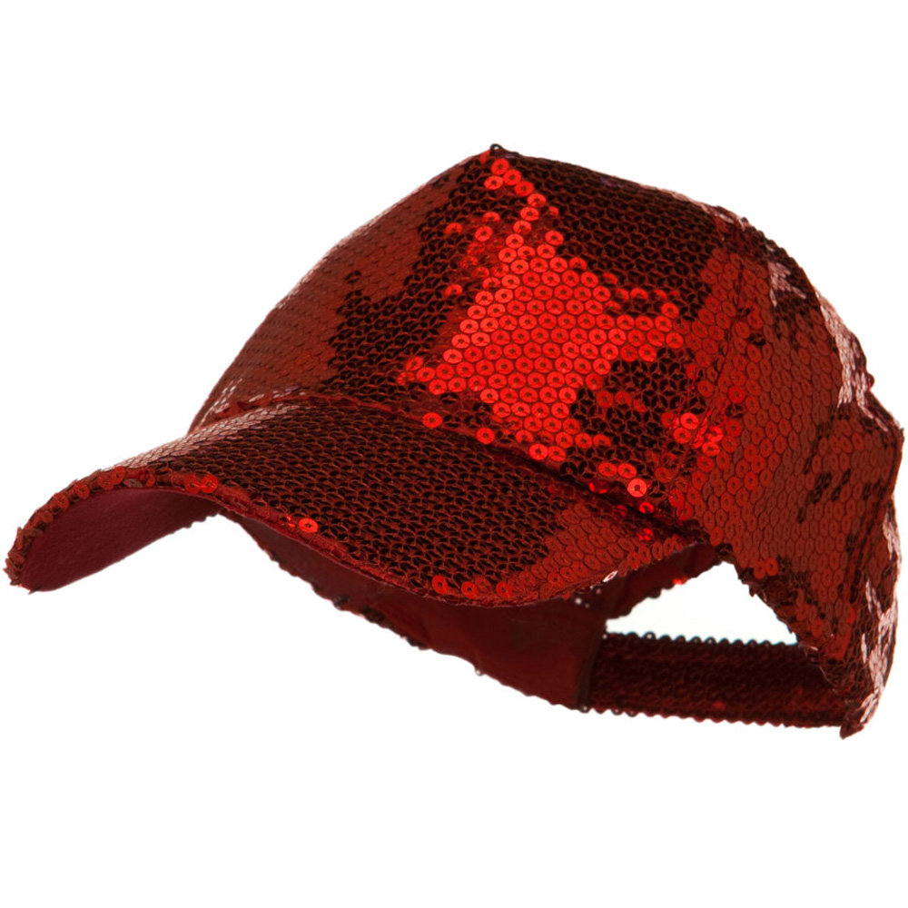 Shiny Sequin Baseball Cap - Red - Hats and Caps Online Shop - Hip Head Gear