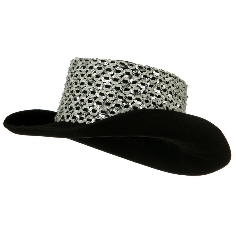 Sequin Band Wool Felt Hat - Silver - Hats and Caps Online Shop - Hip Head Gear