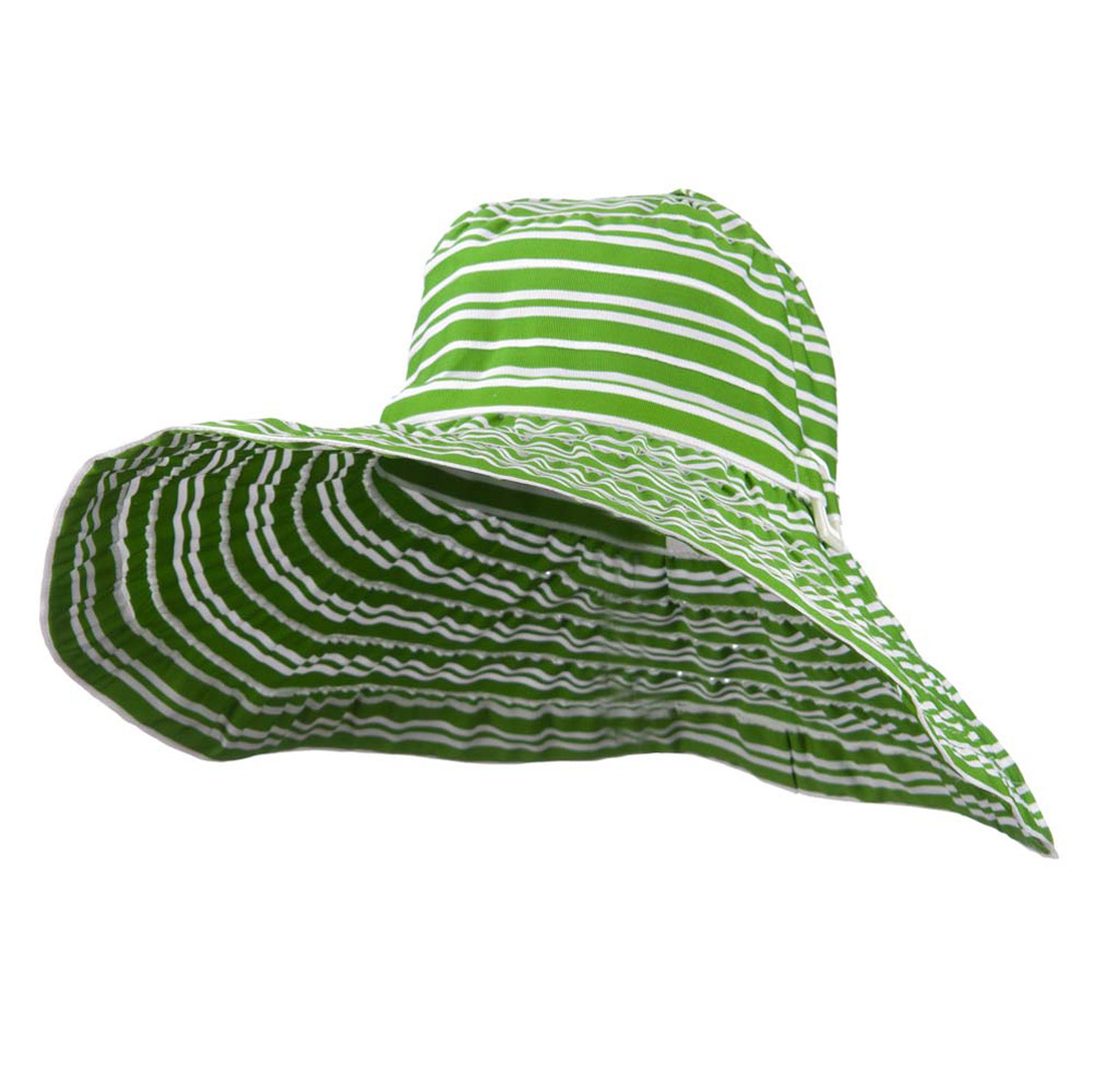 6 Inch Wide Square Buckle Brim Hat - Green White - Hats and Caps Online Shop - Hip Head Gear