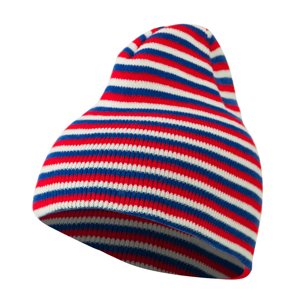 Trendy Multi Striped Beanie - Royal Red White - Hats and Caps Online Shop - Hip Head Gear