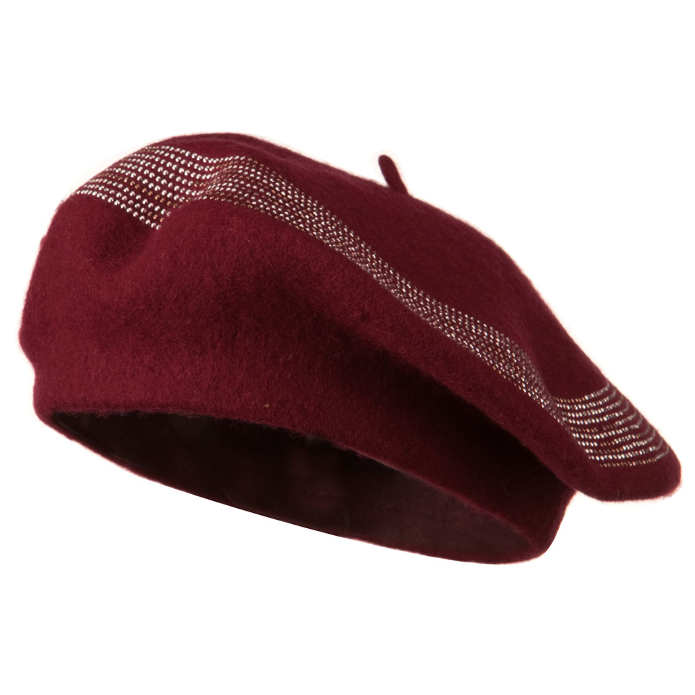 Stone Lined Wool Beret - Wine - Hats and Caps Online Shop - Hip Head Gear