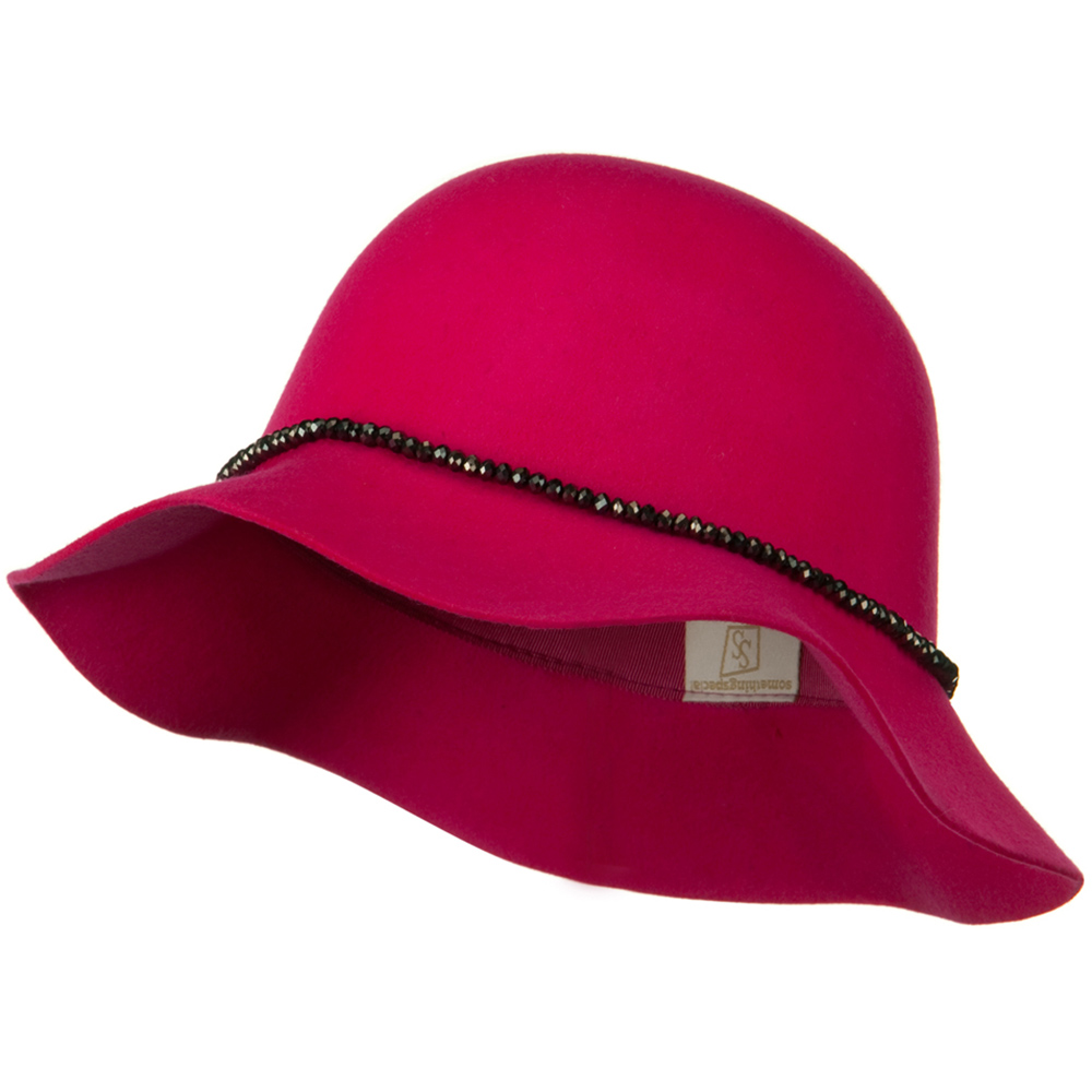 Short Brim Floppy Hat with Bead Band - Fuschia - Hats and Caps Online Shop - Hip Head Gear