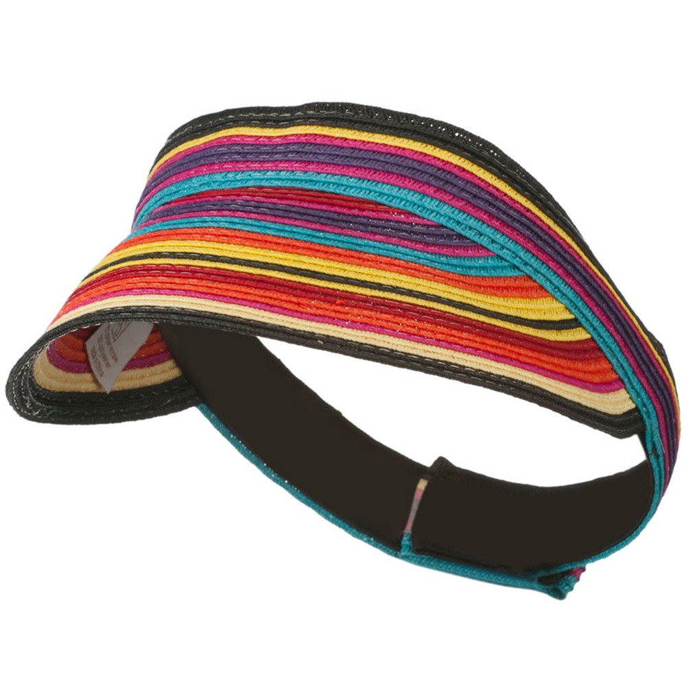 Colorful Striped Brim Paper Braid Visor - Multi - Hats and Caps Online Shop - Hip Head Gear