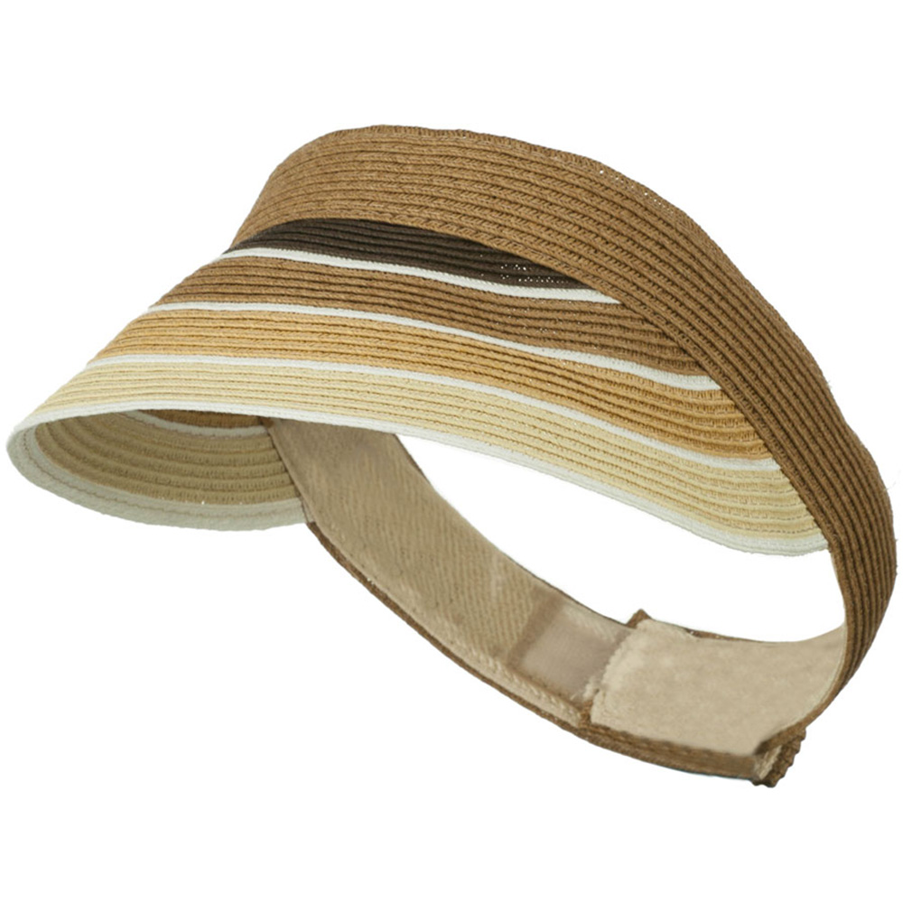 Colorful Striped Brim Paper Braid Visor - Brown - Hats and Caps Online Shop - Hip Head Gear
