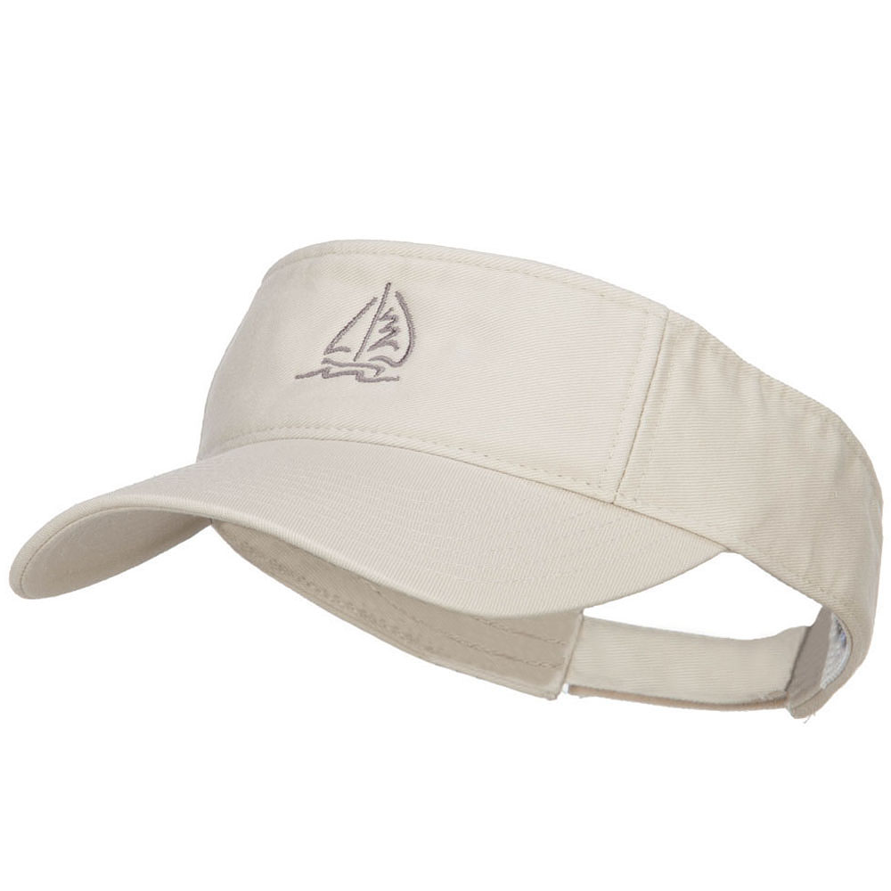 Sailboat with Wave Embroidered Washed Visor - Stone