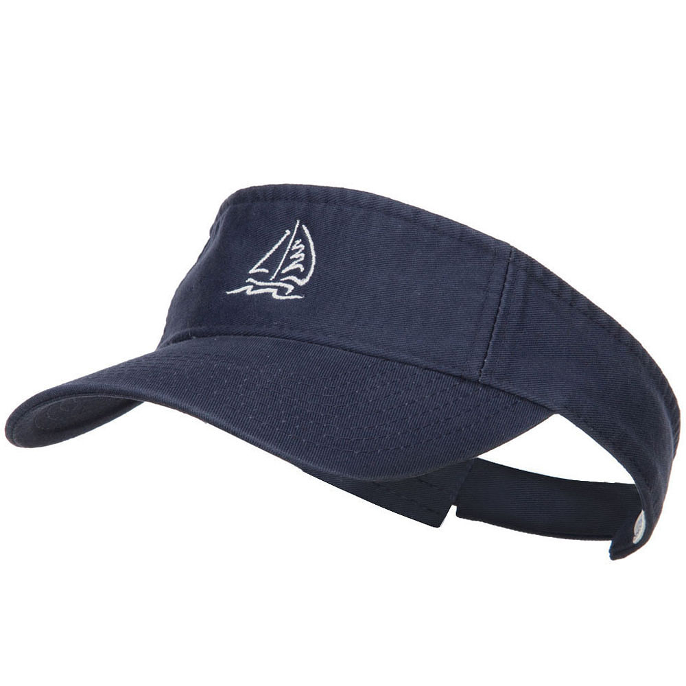 Sailboat with Wave Embroidered Washed Visor - Navy